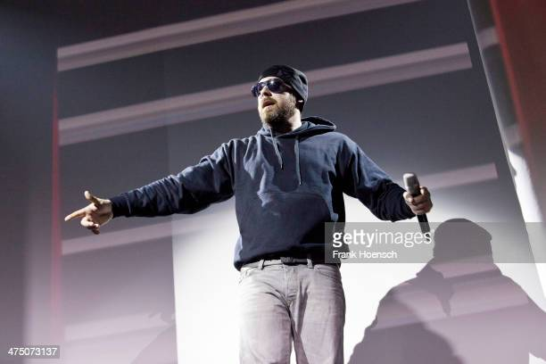 German rapper Sido performs live during a concert at the Columbiahalle on February 26 2014 in Berlin Germany