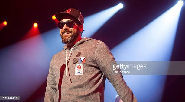 German rapper Sido performs live during a concert together with singer Marius Mueller Westernhagen at the Black Box Music Hall on October 5 2014 in...