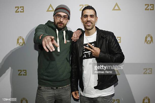 German rappers Sido and Bushido attend a photocall to present their joint music project '23' on October 17 2011 in Berlin Germany