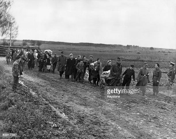 German refugees crossing from the Russian to the British zone of occupied Germany after being ordered out by the Soviets 5th November 1945