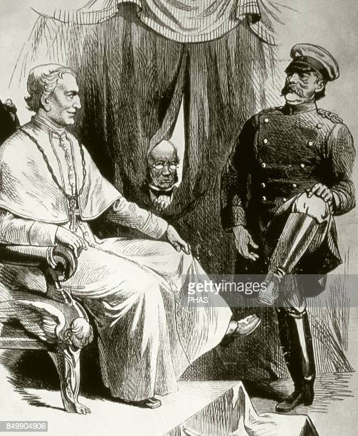 German Reich Caricature about the cultural struggle Conflict known as Kulturkampf originated by Otto von Bismarck with the purpose to subject to the...