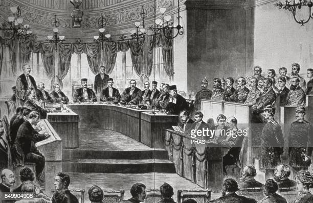 German Reich Process for high treason against a group of socialist before the Court Reich in Leipzig 1881 Engraving