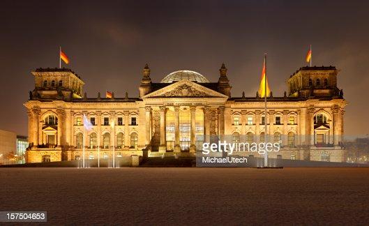 German Reichstag In Berlin At Night