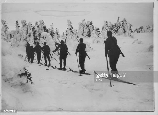 German Reichswehr ski soldiers on maneuvers in the alps Germany circa 19391945