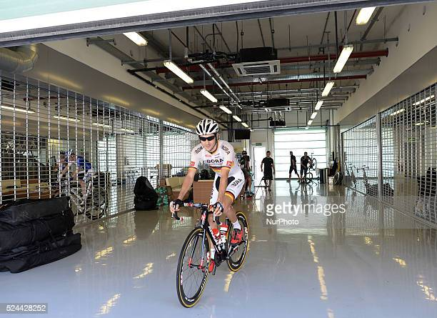 German rider Emanuel Buchmann at the Formula One Yas Marina Circuit ahead of The Capital second stage of the 2015 Abu Dhabi Tour the 129 km from Yas...