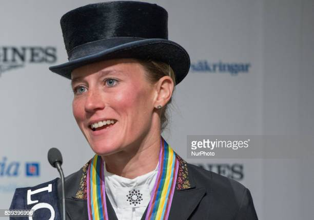 German rider Helen Langehanenberg meets the press after winning the gold medal in the team dressage competition of the 2017 FEI European...