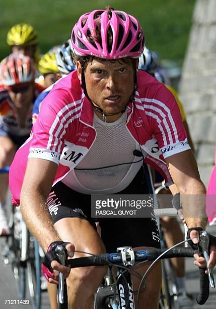 German rider Jan Ullrich competes during the 6th stage of the 70th 'Tour de Suisse' cycling race between Fiesch and La Punt 15 June 2006 AFP...