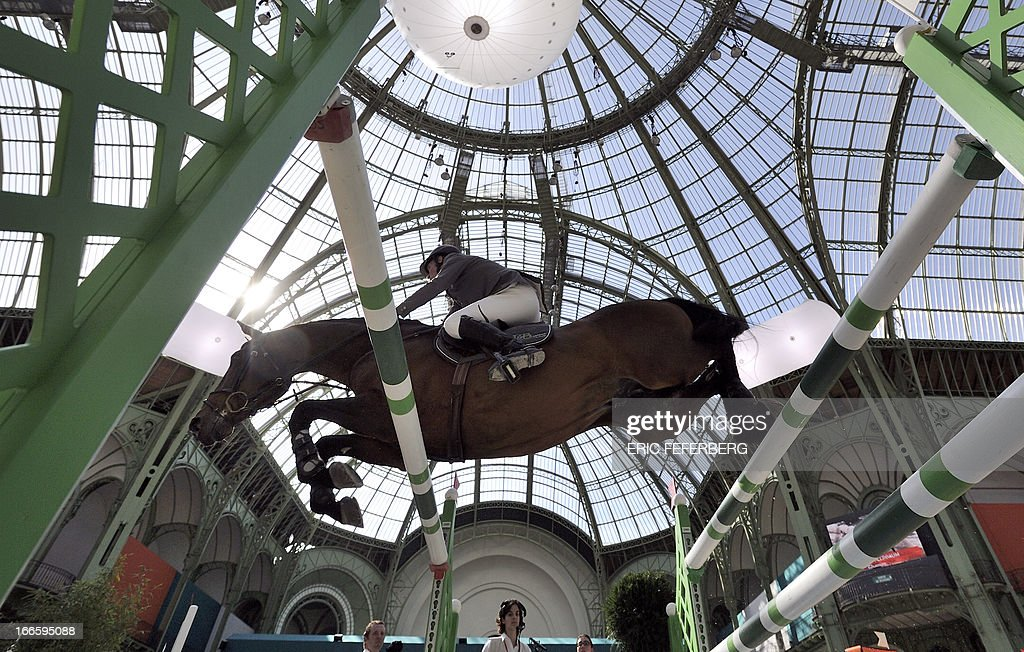German rider Ludger Beerbaum on Chaman clears an obstacle on April 14, 2013 to win the jumping event of the Grand Prix Hermes of Paris at the Grand Palais in Paris.