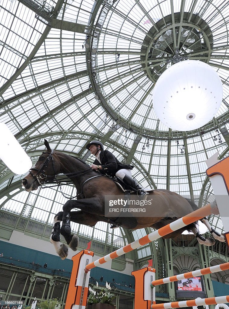 German rider Marcus Ehning and his horse Plot Blue jump during the Hermes Jumping competition at the Grand Palais in Paris on April, 2013. Ehning won the Saut Hermes CSI 5* class 6 with French rider Penelope Leprevost .