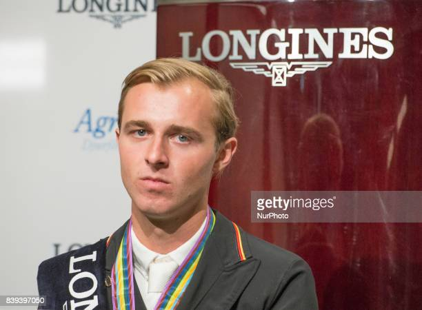 German rider Sönke Rothenberger meets the press after winning the gold medal in the team dressage competition of the 2017 FEI European Championships...
