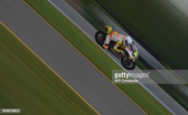 TOPSHOT German rider Tim Georgi rides his KTM during a free practice session N2 of the Moto 3 Czech Grand Prix in Brno Czech Republic on August 04...
