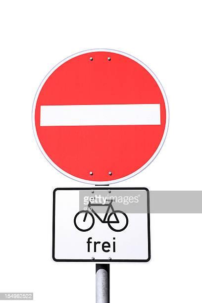 Deutsche road sign-Einbahnstraße, kostenfrei für Fahrräder
