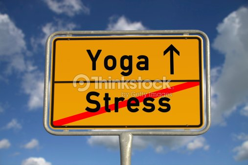 German road sign stress  and Yoga : Stock Photo