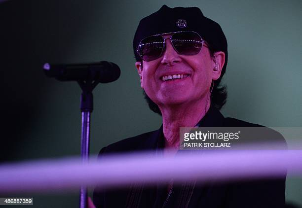 German rock band Scorpions perform in the ring prior to the WBA IBF WBO and IBO title bout between Ukrainian World heavyweight boxing champion...