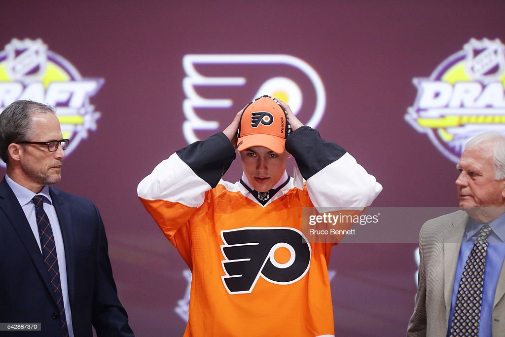 <a gi-track='captionPersonalityLinkClicked' href=/galleries/search?phrase=German+Rubtsov&family=editorial&specificpeople=13713631 ng-click='$event.stopPropagation()'>German Rubtsov</a> celebrates with the Philadelphia Flyers after being picked 22nd during round one of the 2016 NHL Draft on June 24, 2016 in Buffalo, New York.