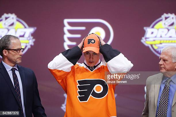 German Rubtsov celebrates with the Philadelphia Flyers after being picked 22nd during round one of the 2016 NHL Draft on June 24 2016 in Buffalo New...