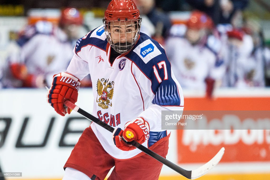 German Rubtsov #17 of Russia skates against Canada Black during the World Under-17 Hockey Challenge on November 2, 2014 at the RBC Centre in Sarnia, Ontario.