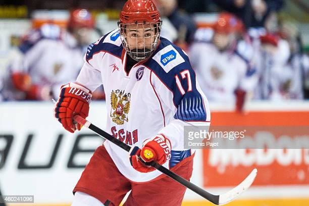 German Rubtsov of Russia skates against Canada Black during the World Under17 Hockey Challenge on November 2 2014 at the RBC Centre in Sarnia Ontario