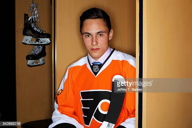 German Rubtsov poses for a portrait after being selected 22nd overall by the Philadelphia Flyers in round one during the 2016 NHL Draft on June 24...