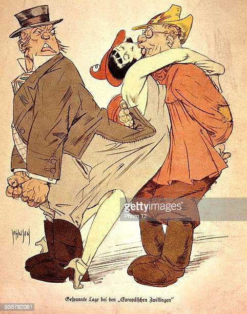 German satirical cartoon France throwing her arms round USSR's neck while turning her back on Great Britain France Paris Bibliothèque nationale