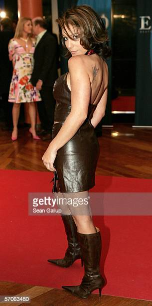 German Schlager singer Michelle arrives for the Echo 2006 Music Awards on March 12 2006 at the Estrel Convention Center in Berlin Germany