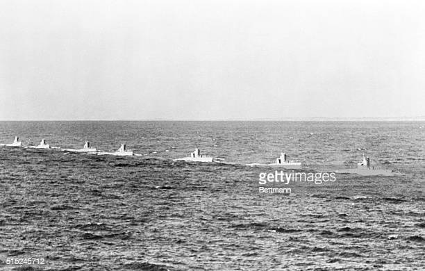 German Sea RaidersOff On Journey of Destruction Kiel Germany A flotilla of seven German submarines pictured setting out for sea duty from this naval...