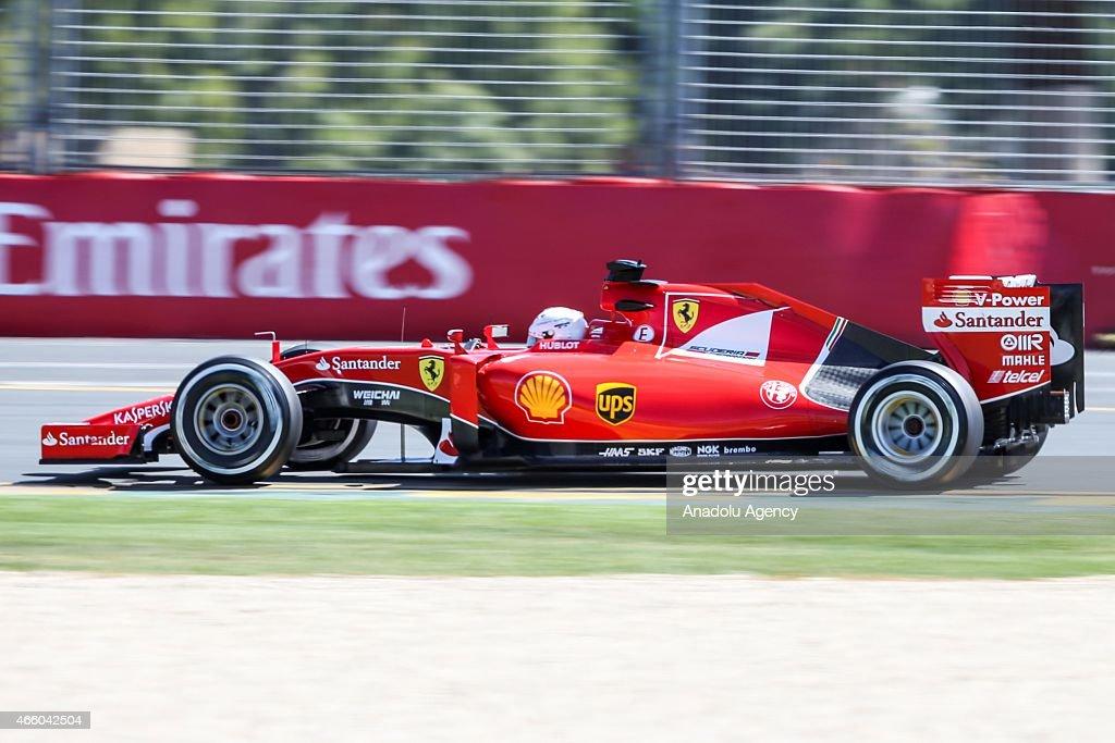 German Sebastian Vettel #5 from the Scuderia Ferrari team during the Friday Practice session at the Rolex Australian Formula 1 Grand Prix, Albert Park, Melbourne, Victoria, Australia on March 13, 2015.