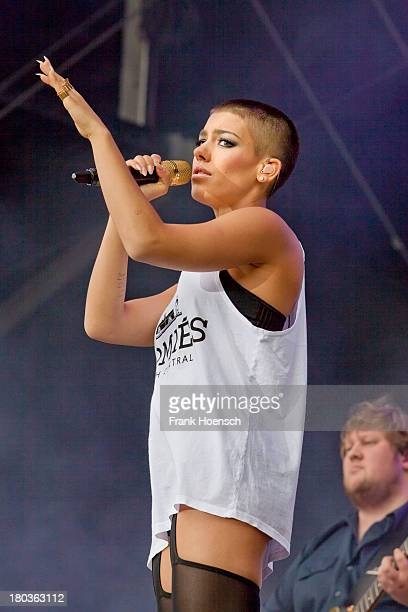German singer Alina Sueggeler of Frida Gold performs live during the Click2Concert at the Flughafen Tempelhof on September 8 2013 in Berlin Germany