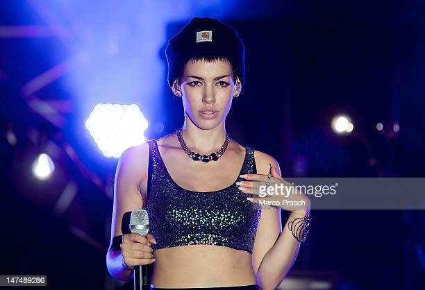 German singer Alina Sueggeler of Frida Gold performs live on stage at the MDR JUMP Arena on June 30 2012 in Freiberg Germany