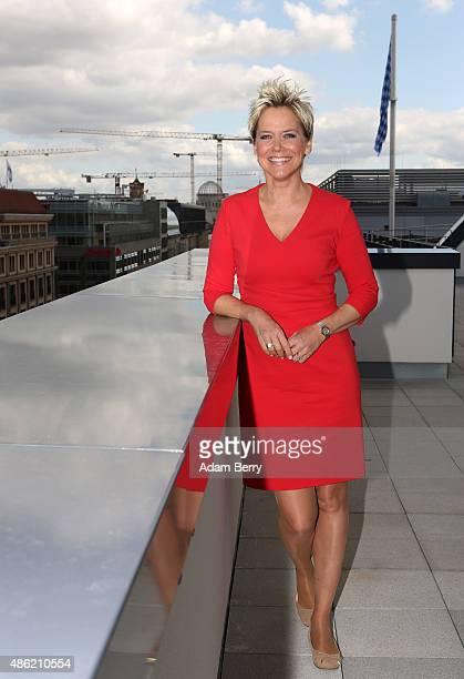 German Singer and Actress Inka Bause participates in a photo call during the filming of a documentary about the television series 'Deutschland 83'...