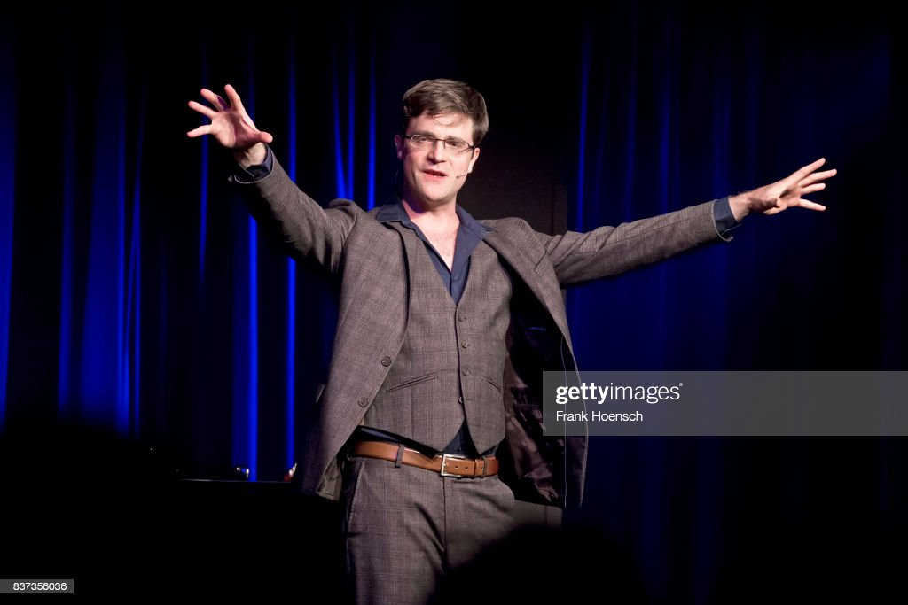 German singer and comedian Bodo Wartke performs live on stage during a concert at the BKA Theater on August 22, 2017 in Berlin, Germany.