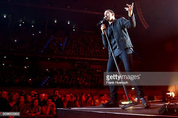 German singer Andreas Bourani performs live during a concert at the MaxSchmelingHalle on February 11 2016 in Berlin Germany