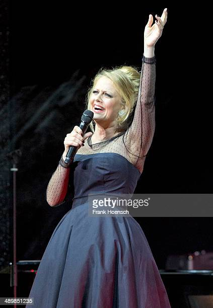 German singer Barbara Schoeneberger performs live during a concert at the Tempodrom on May 12 2014 in Berlin Germany