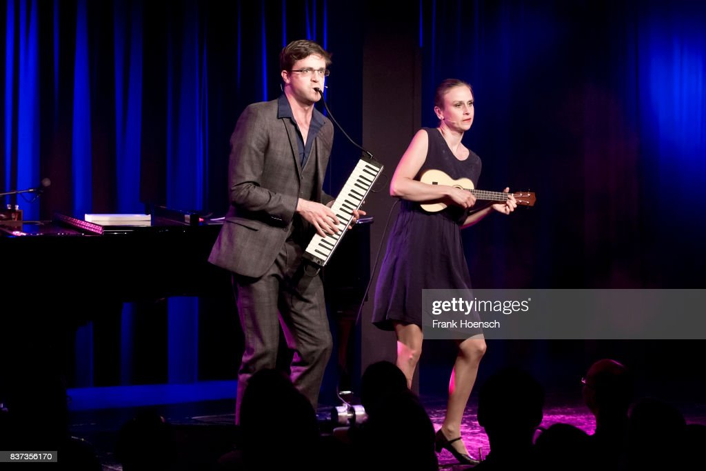German singer Bodo Wartke and Melanie Haupt perform live on stage during a concert at the BKA Theater on August 22, 2017 in Berlin, Germany.