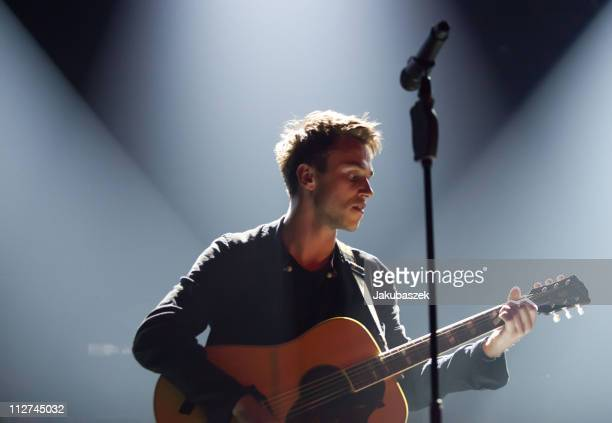 German singer Clueso performs live during a concert at the arena Berlin on April 20 2011 in Berlin Germany