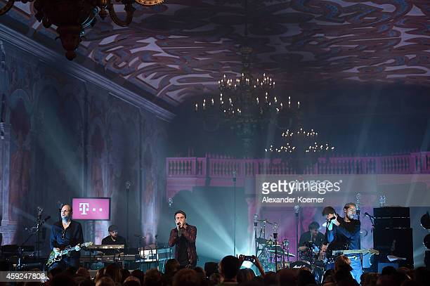 German singer Clueso performs live on stage inside the ArneJacobsenFoyer an ancient gallery building from 1698 during Telekom Street Gig on November...