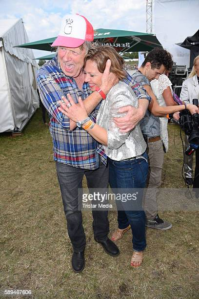 German singer Gunter Gabriel and his daughter Patricia Gabriel during the SchlagerOlymp on August 13 2016 in Berlin Germany