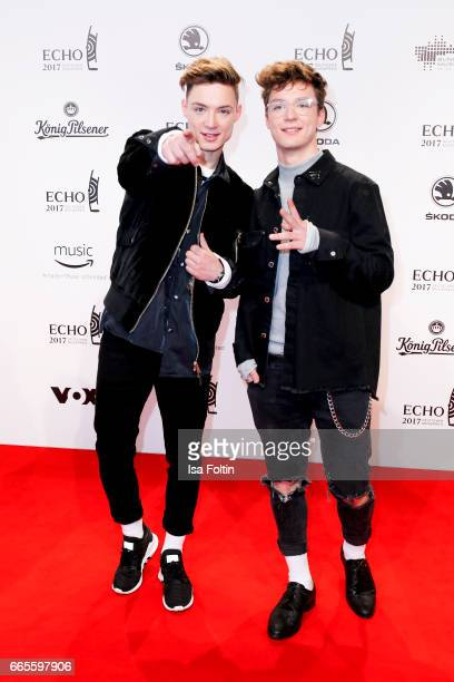 German singer Heiko Lochmann and his brother Roman Lochmann during the Echo award red carpet on April 6 2017 in Berlin Germany