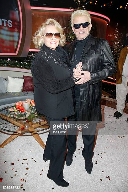German singer Heino and his wife Hannelore Kramm attend the tv show 'Die schoensten Weihnachtshits' on November 30 2016 in Munich Germany