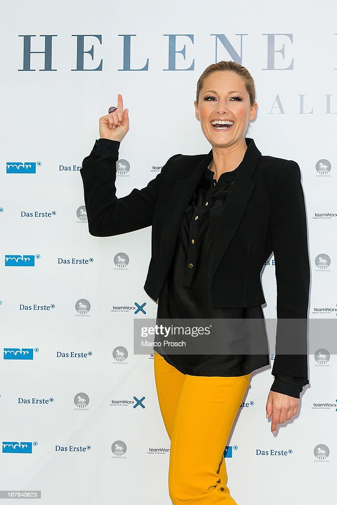 German singer Helene Fischer attends the premiere of the documentary 'Allein im Licht' ('Alone in the light') at the Babylon cinema on April 30, 2013 in Berlin, Germany.