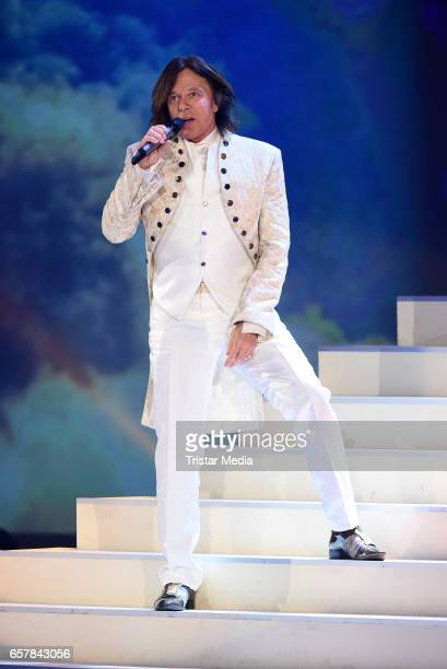 German singer Juergen Drews performs during the show 'Schlagercountdown Das grosse Premierenfest' at EWE Arena on March 25 2017 in Oldenburg Germany