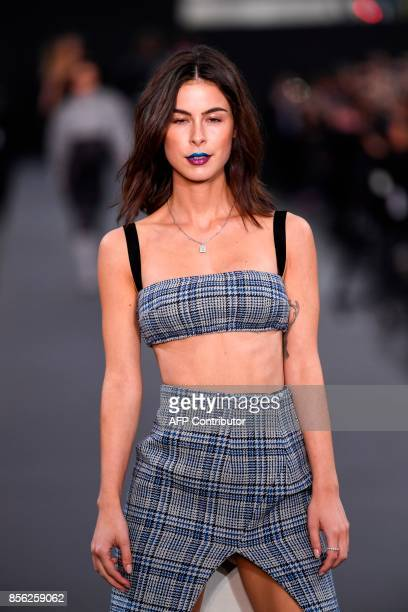 German singer Lena MeyerLandrut takes part in the L'Oreal fashion which theme is Paris on the sidelines of the Paris Fashion Week on October 1 on a...