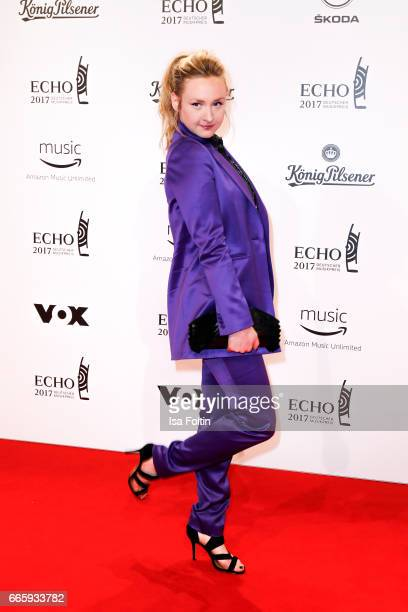 German singer Leslie Clio during the Echo award red carpet on April 6 2017 in Berlin Germany