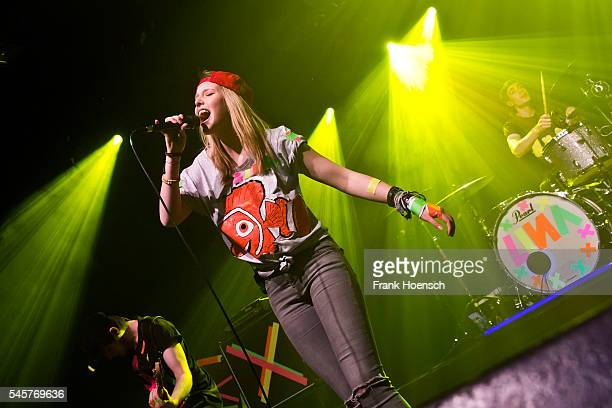German singer Lina Larissa Strahl performs live during a concert at the Columbia Theater on July 7 2016 in Berlin Germany