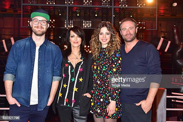German singer Mark Forster german singer Nena and her daughter Larissa Kerner and german singer Sasha during the 'The Voice Kids' photo call on...
