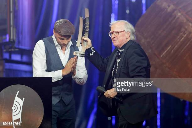 German singer Matz Mutzke and lifetime achievement award winner Klaus Doldinger during the Echo Jazz 2017 on June 1 2017 in Hamburg Germany