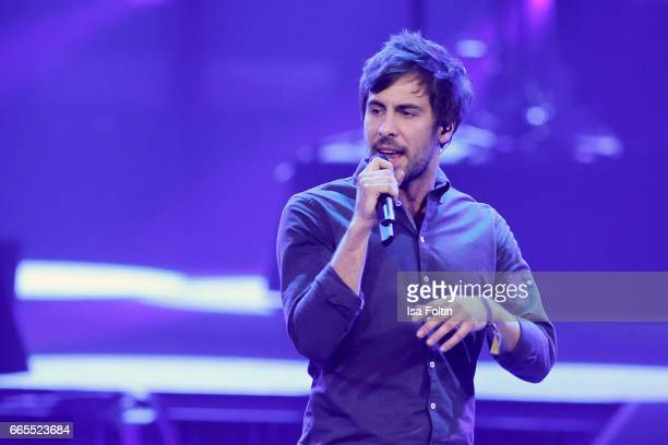 German singer Max Giesinger performs during the Echo award show on April 6 2017 in Berlin Germany