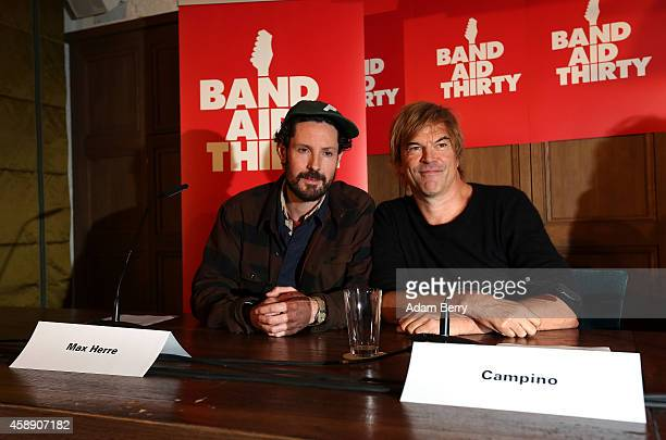 German Singer Max Herre and German Singer Campino attend a press conference about the German version of a 30th anniversary edition of the 80s poverty...