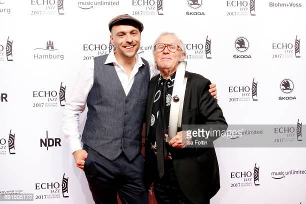 German singer Max Mutzke and winner of the lifetime achievement award Klaus Doldinger during the Echo Jazz 2017 onJune 1 2017 in Hamburg Germany