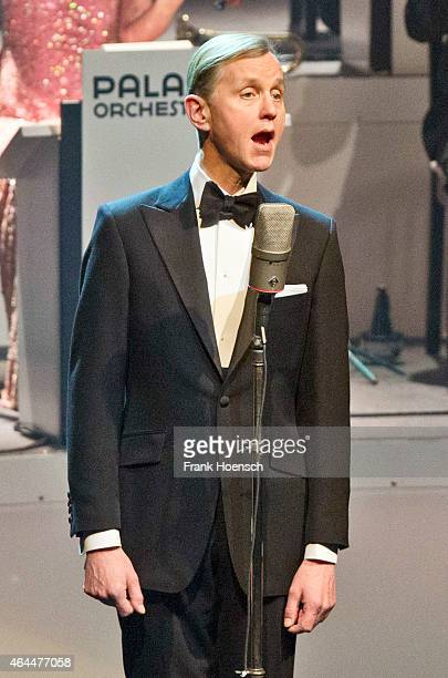 German singer Max Raabe performs live during a concert at the Admiralspalast on February 24 2015 in Berlin Germany